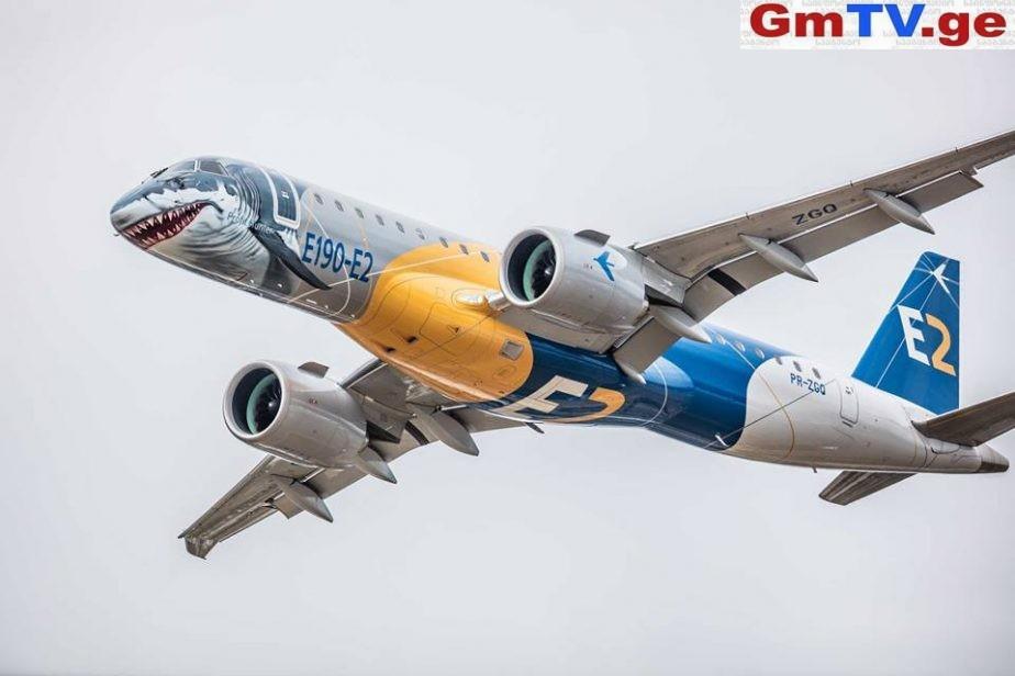"""The """"Shark"""" E190-E2 """"ჯორჯიან ეარვეისის"""" საჰაერო ფლოტს 2019 წლიდან შეემატება"""